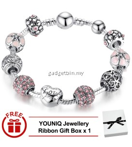 YOUNIQ 925S Silver Charm Bracelet with Love & Flower Crystal Ball for Her Wedding Gift PA1455