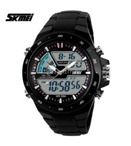 Men Dual Display Waterproof Multi-function LED Sports Watch