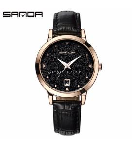 SANDA P194 Dazzling Genuine Leather Black Band Star Dial Date Display Quartz Watch for Women