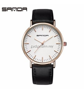 SANDA P195 Genuine Leather Black Band Date Display Quartz Watch for Women & Man Unisex