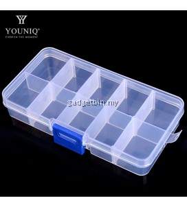 YOUNIQ Basic 10 Grid Slot Case Jewellery Beads Pill Container Transparent Plastic Storage Box