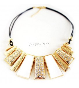 YOUNIQ Basic Diamante White Geometric Statement Necklace