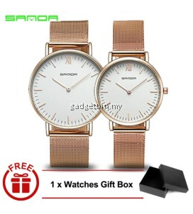 Original SANDA 208 Luxury Ultra Thin Stainless Steel Quartz Couple Watch (Rosegold White)