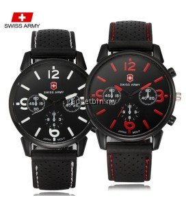 Swiss Army 1102 2in1 SET Military Men's Silicone Strap 3 Dial Display Fashion Sport Watch Bundle Set (Black White & Black Red)