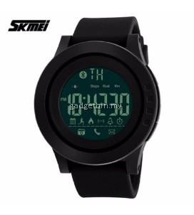 SKMEI 1255 Men Smart Watch Calorie Pedometer Multi-Functions Remote Camera 50M Waterproof Digital Watch (Full Black)
