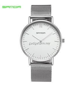 Original SANDA 208 Luxury Ultra Thin Stainless Steel Quartz Men Watch (Silver White)