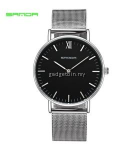 Original SANDA 208 Luxury Ultra Thin Stainless Steel Quartz Men Watch (Silver Black)