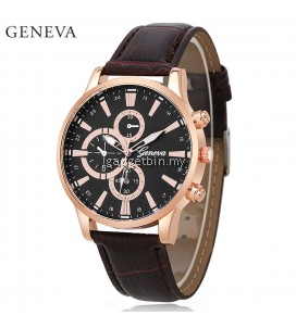 Geneva Men's Stainless Steel Quartz Brown Leather Watch (Gold Black)