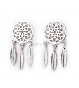 YOUNIQ Basic Korean Dream Catcher Drop Earring (Silver)