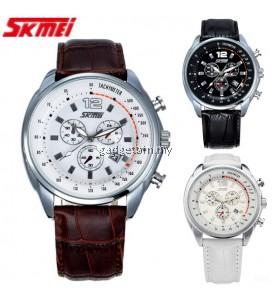 SKMEI 6852 Men's Quartz Calendar Leather Strap Watch