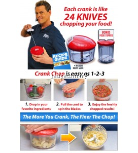 Crank Chop Food Chopper Chop Mince Puree in Second With Food Topper