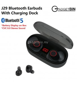 J29 Wireless Bluetooth 5.0 4D Surround Heavy Bass Headset Earbuds Support Siri With Digital Charging Indicator