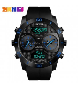 SKMEI 1355 Men's Military 3 Time Sports Outdoor Quartz Digital Multi Movement LED Watch Full Black / Red / Blue