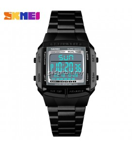 SKMEI 1381 Waterproof Man Wristwatch Dual Time Stop Watch Stainless Steel LED Digital Men Watch Silver / Gold / Rosegold / Black
