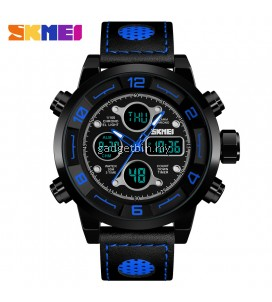 SKMEI 1371 Men's Sport Digital Countdown 3 Time Chronograph Stopwatch LED Watch Red / Blue / Full Black