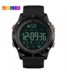 SKMEI 1425 Men Smart Watch Calorie Pedometer Multi-Functions Remote Camera 50M Waterproof Digital Watch Full Black