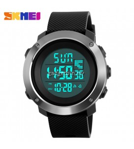 SKMEI 1268 Simple Big Dial Dual Time Alarm LED Digital Sport Watch Full Black / Grey / Green