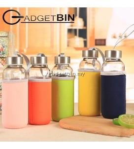 Fashion Glass Water Bottle 420ML With Non Slip Cover (Random Color)