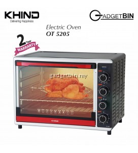 KHIND OT5205 Multifuction Electric Oven 52L With Convection & Rotisserie Bake Broil Roast Chicken UP TO 3KG