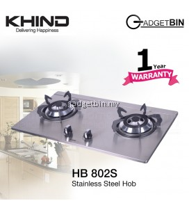 Khind HB802S Stainless Steel Cooktop With 2 Burner for LPG Gas