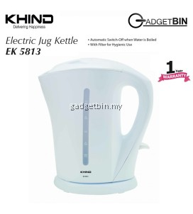 KHIND EK5813 Electric Cordless Jug Kettle 1.7L With Extra Filter for Hygenic Use