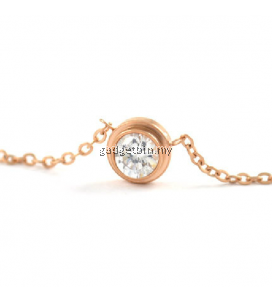 YOUNIQ CZ 14K Rosegold Plated Titanium Necklace