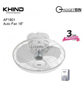"KHIND AF1801 18"" Adjustable Angle Auto Fan with 3 Speed Regulator More Air Delivery"