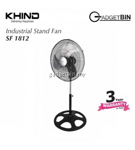 "KHIND SF1812 Industrial Stand Fan 18"" Adjustable Height Aluminum Blade"