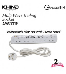 Khind LN8135W 5 Ways Gang Trailing Socket ( Extension Cord )