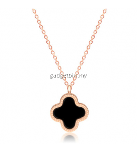 YOUNIQ Blossom 14K Rosegold Plated Titanium Necklace with Two-sided Shell Colors
