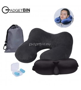 4 in 1 Set Inflatable Travel Neck Pillow with Sleep Mask, Soft Foam Earplugs, Compact Carry Bag