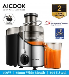 Aicook AMR526 65MM Wide Mouth BPA-Free 304 Stainless Steel 3 Speeds Centrifugal Juicer Machine for Fruits and Vegetables - 2 Years Warranty
