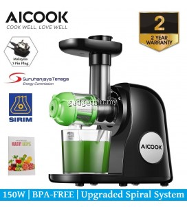 Aicook AMR521 Slow Masticating Juicer Extractor Whole Fruit and Vegetable , Dual-Stage Quiet Motor & Reverse Function, Cold Press Juicer, Slow Juicer