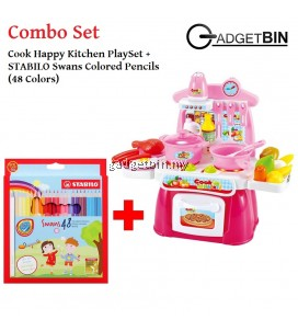 [Combo] Cook Happy Kitchen PlaySet With Light and Sound (Pink) + STABILO Swans Colored Pencils