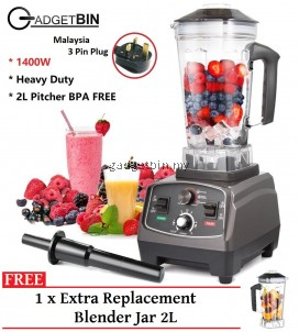 Gadgetbin Professional 1400W Heavy Duty Juicer Commercial Blender 2L BPA FREE For Smoothies, Ice Cream, Raw Vegetables And Milkshakes FREE 1 x Extra Blender Jar