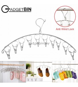 Gadgetbin Stainless Steel Laundry 10 Clips Cloth Hanger Cloth Drying Hanger With Anti Wind Lock
