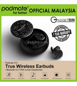 [OFFICIAL PADMATE MALAYSIA] Padmate X13-PAMU Water-Resistant Never Fall Out True Wireless Stereo Earbuds