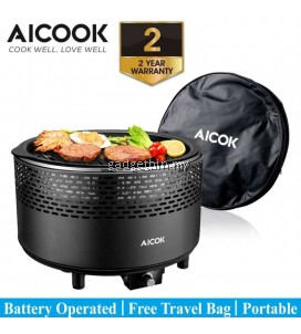 Aicook Aicok CG01 Premium Portable Smokeless Charcoal Grill, BBQ Grill, Compact Barbecue Grill for Backyard, Camping, Picnic and Party, Removable Electric Fan, Free Travel Bag, Black