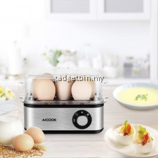 AICOOK ZDQ-806 500W S/Steel Multi-functional Rapid Egg Cooker,8 Eggs High Capacity,Auto Shut-Off,Electric Egg Maker for Soft/ Medium/ Hard 3 Gear Option,Milk Heater,Nursing Bottle Sterilization,Poached,Steamed Vege,Meat & Seafood etc