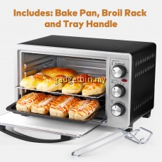 AICOOK GH23 23L Toaster Oven Slices Bread Countertop Speedbaking,1500W Double Glazed Door Oven,Bake/ Broil/ Toast Function with 3 Heating Elements,Electric Grill with Temperature Setting 100-230℃ and 60min Timer with Bake Pan, Broil Rack & Tray Handle