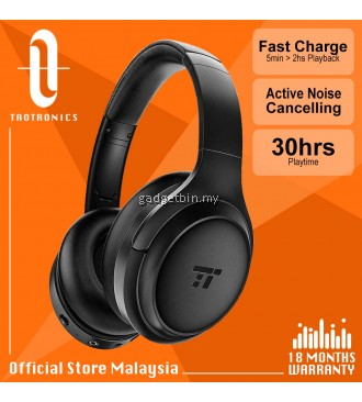 TaoTronics BH060 Active Noise Cancelling Headphones TT SoundSurge 60 Over Ear Headphones, Sound Deep Bass, Quick Charge, 30 Hours Playtime for Travel Work TV PC Cellphone [OFFICIAL TAOTRONICS M'SIA]