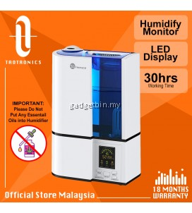 TaoTronics AH001  LED Display with Humidistat ,Humidify Monitor Humidifiers 30W Cool Mist Extra Large 4L , 30 hours Working Time, TT Ultrasonic Humidifier for Large Bedroom, Home, Baby, Quiet Operation, Waterless Auto Shut-Off [OFFICIAL TAOTRONICS M'SIA]