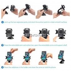 Taotronics SH08 Windshield Dashboard Universal Phone Holder, TT Car Phone Mount, One-Hand Operation, Easy Fit, Extra Strong Sticky, 360° Rotation Optimal Viewing, Adjustable Arm, Windshield / Dashboard for all Smartphone [OFFICIAL TAOTRONICS M'SIA]