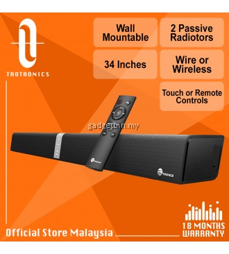 Taotronics SK15 34'' Wall Mountable Soundbar, TT Wired Wireless Bluetooth Audio Speaker, Touch / Remote Control, Dual Connection Methods, Powerful Stereo Audio with 2 Passive Radiators [OFFICIAL TAOTRONICS M'SIA]