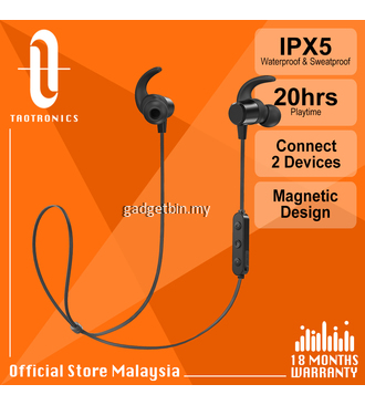 Taotronics BH067 Pair 2 Devices Bluetooth 5.0 Sport Earphones, TT Magnetic Earbuds with IPX5 Waterproof, 20hours Ultra-Long Playtime for Gym Running Travelling [OFFICIAL TAOTRONICS M'SIA]