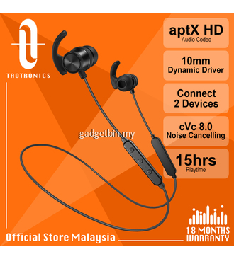 Taotronics BH065 【TT-BH07S Boost】aptX HD AAC compatible sound, TT Bluetooth 5.0 IPX4 Sweatproof Sport Magnetic Wireless Earphone, 15hrs Playtime, cVc 8.0 Noise Cancelling, Talk Uncompromised, for iphone Android [OFFICIAL TAOTRONICS M'SIA]