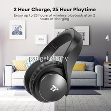TaoTronics BH21 cVc 6.0 Noise Cancelling Headphones, TT Bluetooth Headphones Over Ear Headphones, 25Hours Playtime, On-Ear Controls, Dual 40mm Large-Aperture Drivers, Built-in EQ Bass, H-Fi Audio for Travel Work TV PC [OFFICIAL TAOTRONICS M'SIA]