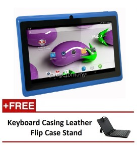 "7"" Ewing Monster A33 Quad Core 1.5gHz 8GB Bluetooth Dual Camera Android 4.4 Tablet (Blue) FREE Keyboard Casing Leather Flip Case Stand"