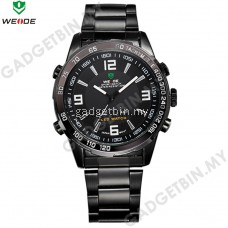 WEIDE WH1009 LED Black/ Silver Stainless Steel Time Men's Watches- 6 Color Options