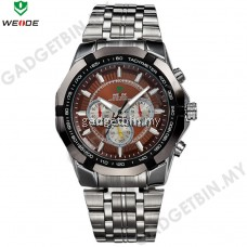 WEIDE WH1010 Silver Stainless Steel Men's Military Sports Quartz Watch- 3 Color Options